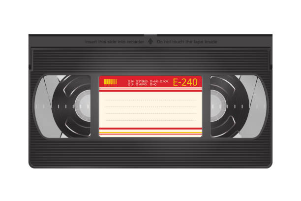 Realistic Video Recorder Tape. Video Cassette Isolated on a White Background vector art illustration