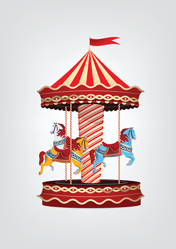 Realistic vintage carousel with blue, orange and white horses.