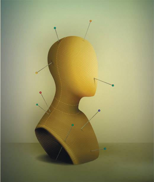 realistic vintage mannequin with pins pierce, portrait of nobody, - marionetka stock illustrations