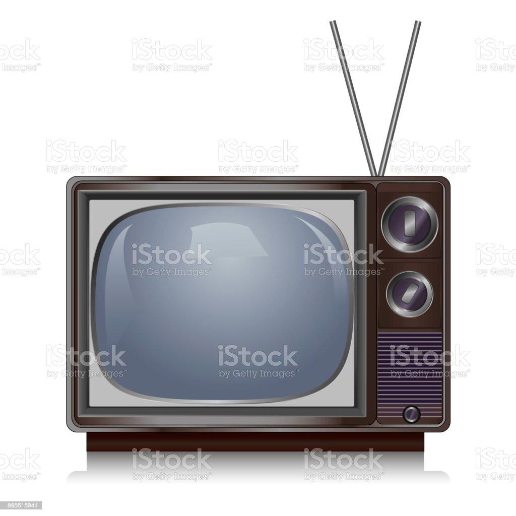 Realistic vintage TV isolated on white background, retro vector art illustration