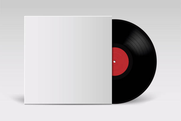 realistic vinyl record with cover mockup. retro design. front view. - record analog audio stock illustrations