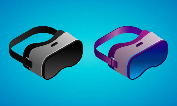 Realistic virtual reality glasses in isometry vector illustration Vector illustration of a realistic virtual reality glasses in isometry on blue background vr stock illustrations
