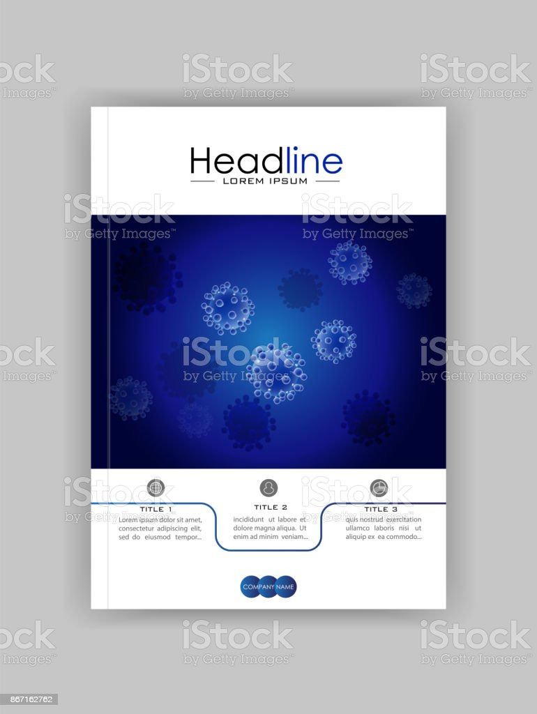 realistic virus vector on blue background medical journal cover