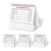 Realistic desktop calendar with spring for 2017. Vector illestations