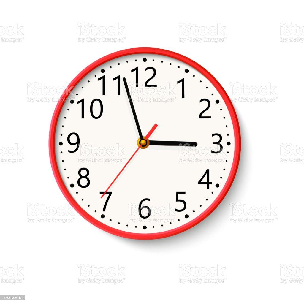 Ilustración de Reloj De Pared Realista Sobre Fondo Blanco Vector y ...