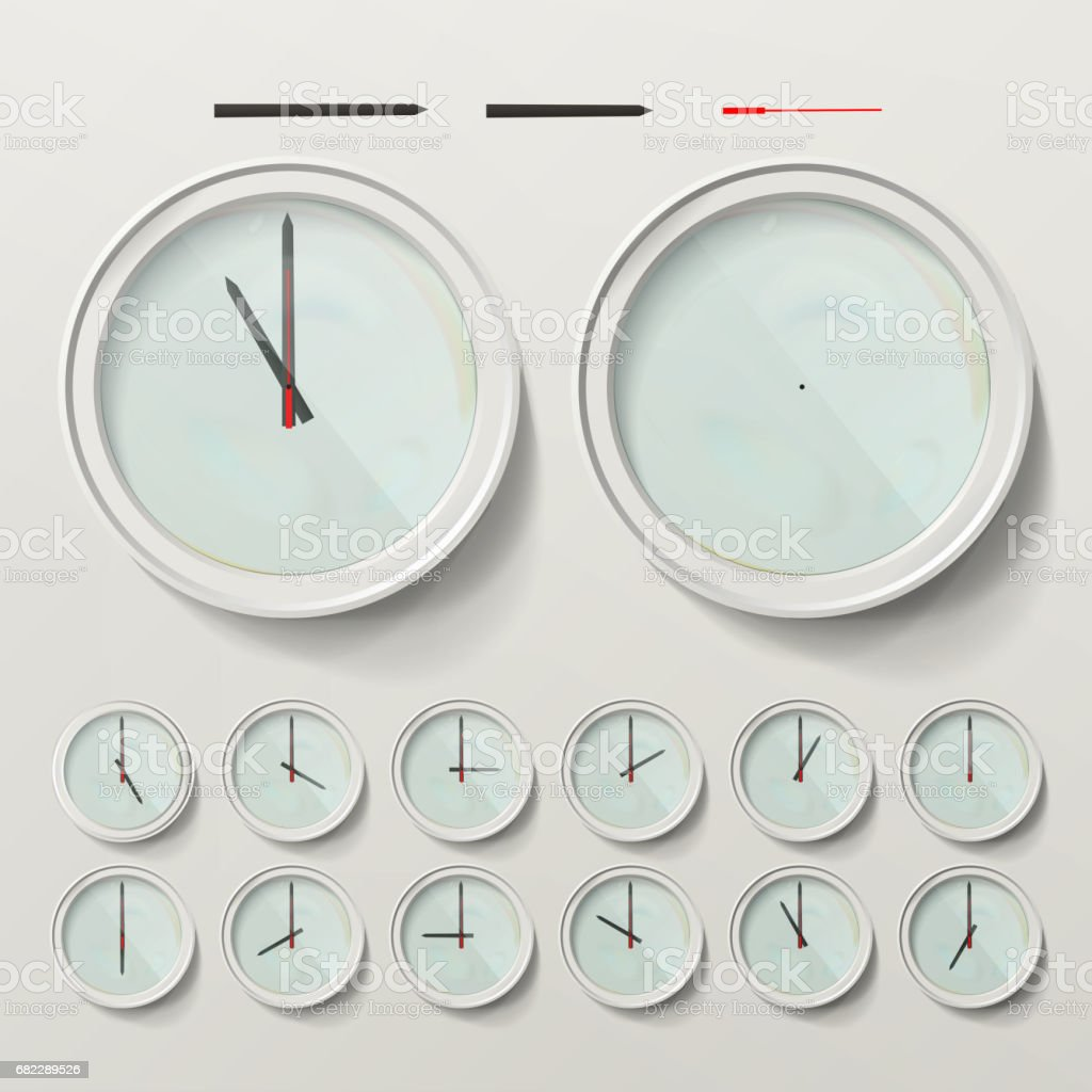 Realistic Wall Clocks Set Vector Illustration. Wall Analog Clock. Realistic Second Minute Hour vector art illustration