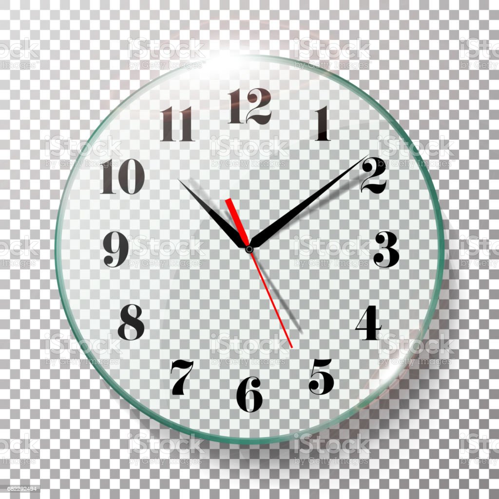 Realistic Wall Clocks Set Vector Illustration. Wall Office Clock With Black  And Red Hands Isolated