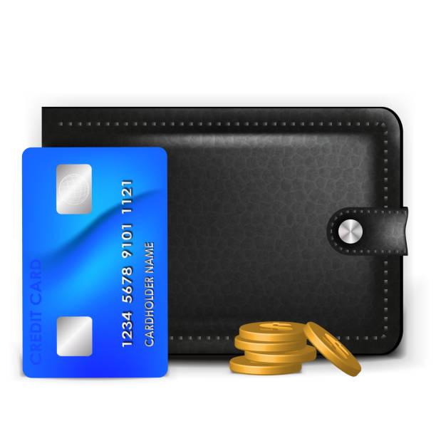 Eine realistische Brieftasche mit einer Zahlungskarte und Münzen – Vektorgrafik