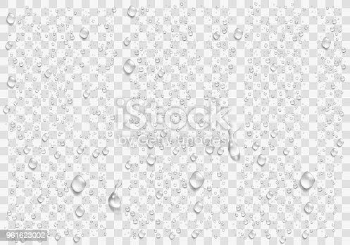 istock Realistic water droplets on the transparent window. Vector 961623002