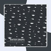 Realistic water drops on black textured background seamless pattern vector illustration