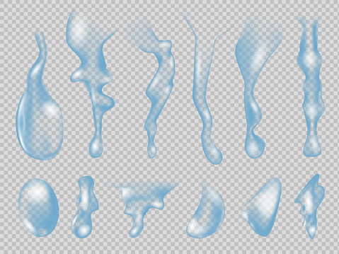 Realistic water drops. Raindrops set on white background. Pure transparent water drops realistic. Vector illustration