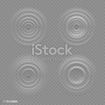 istock Realistic water ripple effects isolated on a transparency background 1175425850