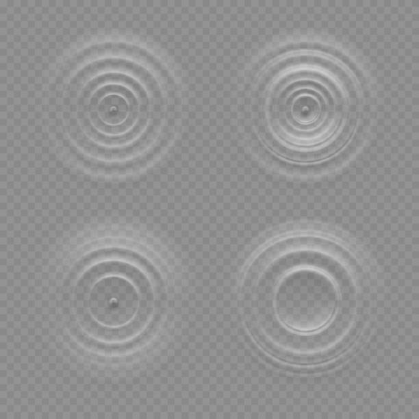 Realistic water ripple effects isolated on a transparency background Realistic water ripple effects isolated on a transparency background, round waves on a surface of the liquid, circular sound, resonance, music, waveform patterns or design elements photographic effects stock illustrations