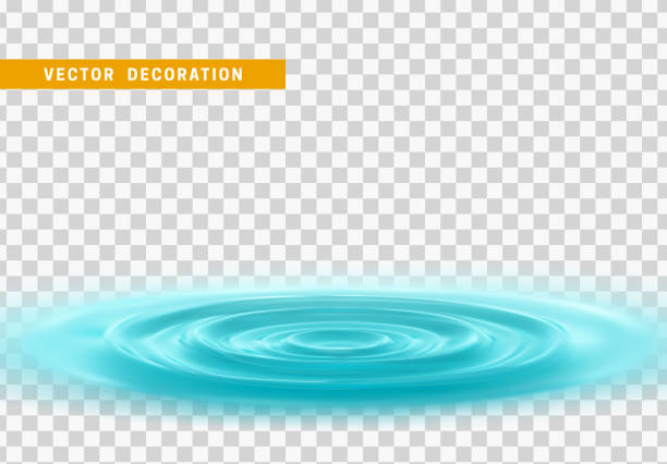 Realistic water ripples and round weave with curle. Realistic water ripples and round weave with curle. Vector Isolated with transparent background rippled stock illustrations