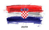Realistic watercolor painting flag of Croatia . Vector