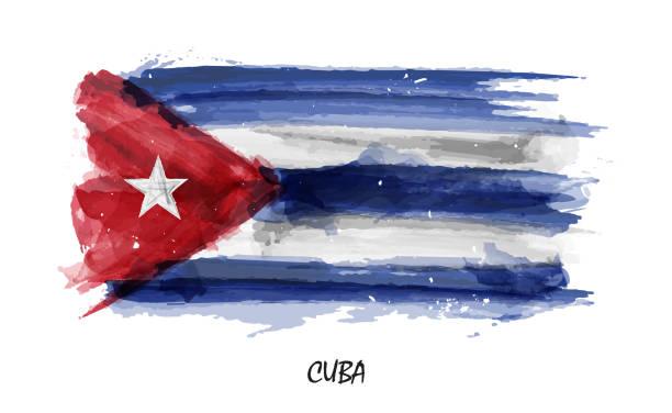 Realistic watercolor painting flag of Cuba . Vector vector art illustration