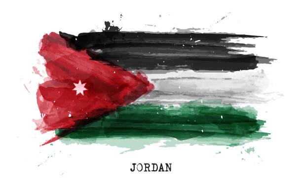 Realistic watercolor painting flag of Jordan . Vector . vector art illustration