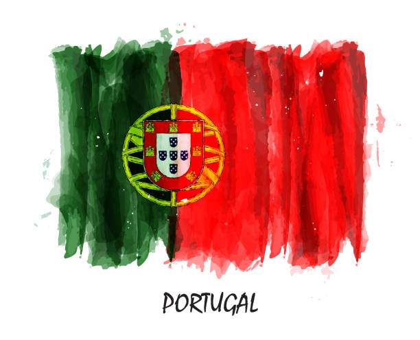 Realistic watercolor painting flag of Portugal . Vector vector art illustration