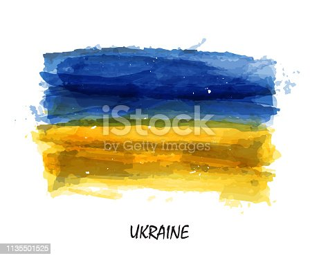 Realistic watercolor painting flag of Ukraine . Vector .