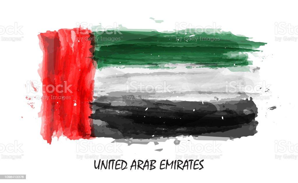 Realistic watercolor painting flag of United arab emirates ( UAE ) . Vector - Grafika wektorowa royalty-free (Abu Zabi)