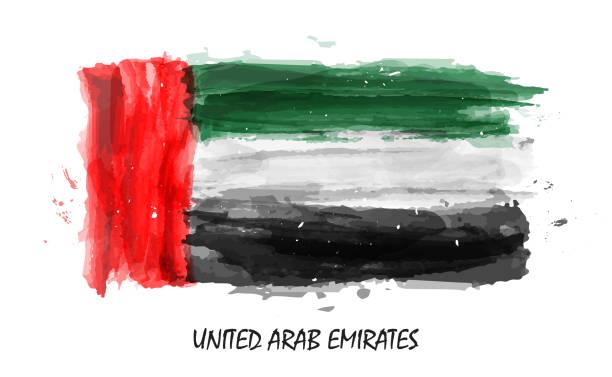 realistic watercolor painting flag of united arab emirates ( uae ) . vector - uae flag stock illustrations