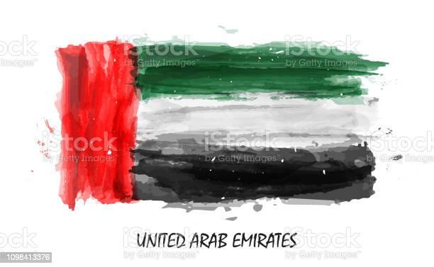 Realistic Watercolor Painting Flag Of United Arab Emirates Vector - Stockowe grafiki wektorowe i więcej obrazów Abu Zabi