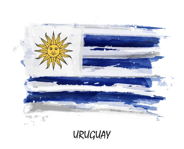 Realistic watercolor painting flag of Uruguay . Vector vector art illustration