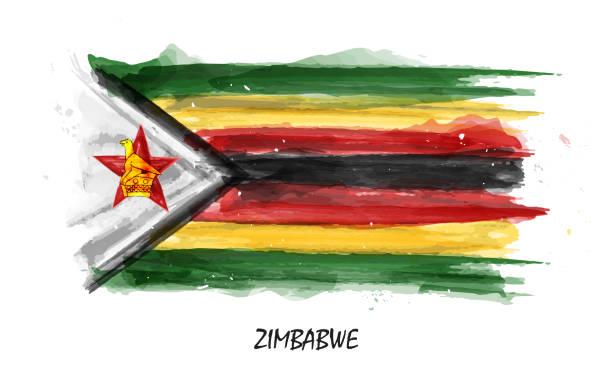 realistisches aquarell flagge von simbabwe. vektor. (nicht auto spur. verwenden sie aquarell pinsel) - salisbury stock-grafiken, -clipart, -cartoons und -symbole