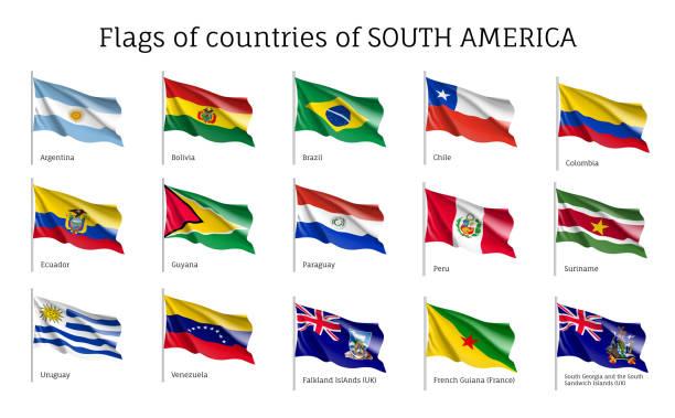 Realistisch schwenkende Flaggen des Südamerika-Kontinents – Vektorgrafik