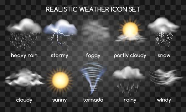Realistic weather icons on transparent Realistic weather icons set isolated on transparent background. Vector set with type of weather thunderstorm stock illustrations