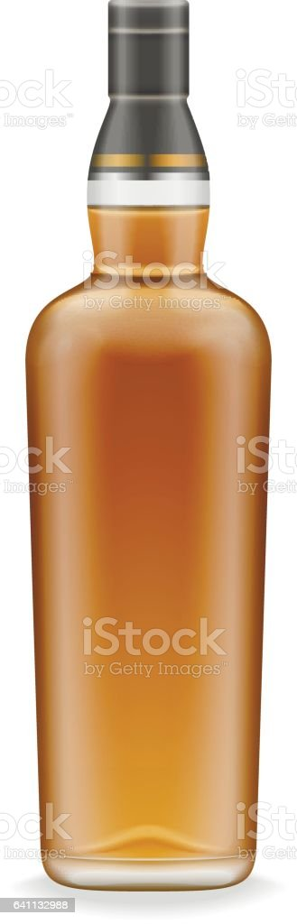 Realistic whiskey bottles vector art illustration