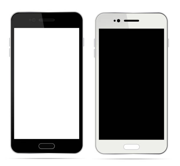 realistic white and black smartphone with blank touch screen isolated on white background. vector illustration - telefon stock illustrations