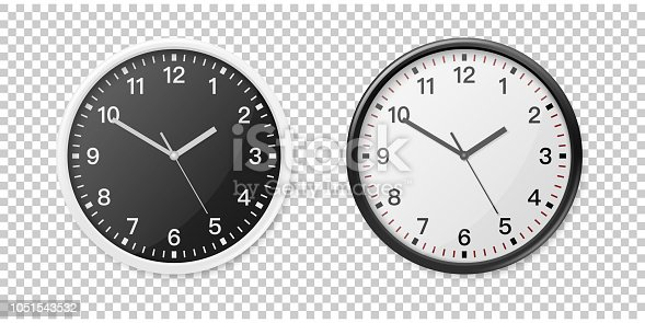 Realistic White and Black Wall Office Clock Icon Set. Design Template for Mockup, Graphics, Branding, Advertise. Wall Clock Mock-up Closeup Isolated on Transparent Background. Front or Top View.