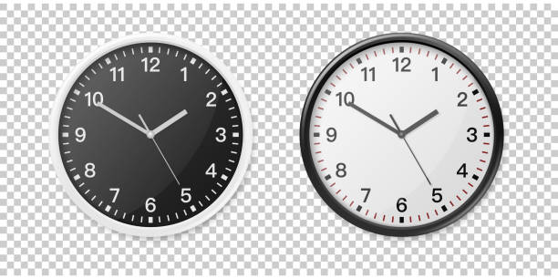 ilustrações de stock, clip art, desenhos animados e ícones de realistic white and black wall office clock icon set. design template for mockup, graphics, branding, advertise. wall clock mock-up closeup isolated on transparent background. front or top view - watch