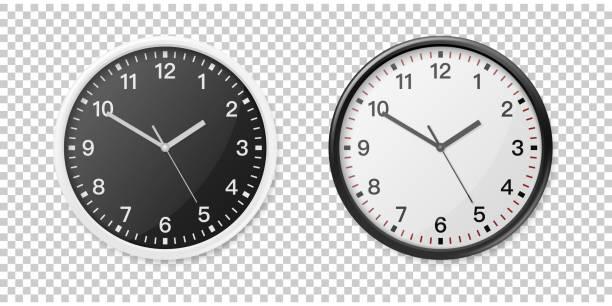 ilustraciones, imágenes clip art, dibujos animados e iconos de stock de conjunto de iconos de oficina reloj de pared realista blanco y negro. plantilla de diseño de maquetas, gráficos, marcas, publicidad. pared reloj maqueta acercamiento aislado sobre fondo transparente. vista frontal o superior - wall clock
