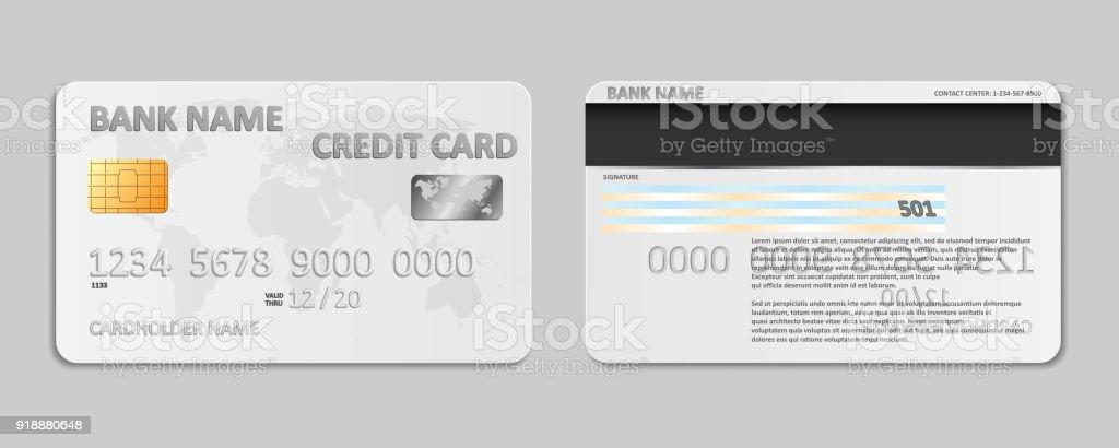 Realistische Weißen Bank Kreditkarte Vorlage Isoliert Bank Credit ...