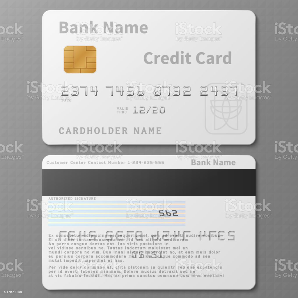 Realistische Weißen Bank Kreditkarte Mit Chip Vektor Vorlage ...