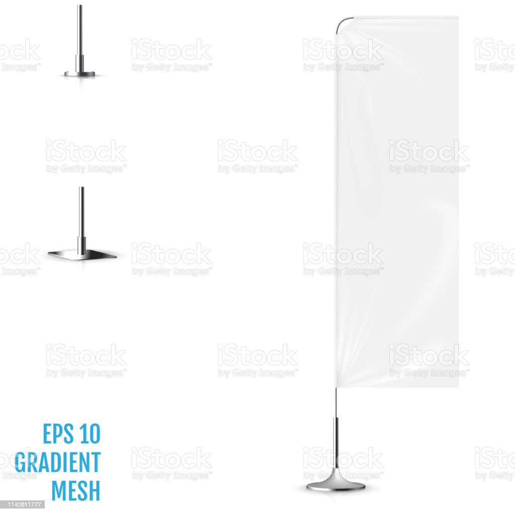 Realistic White Banner Flag 3d Mockup Stock Illustration - Download