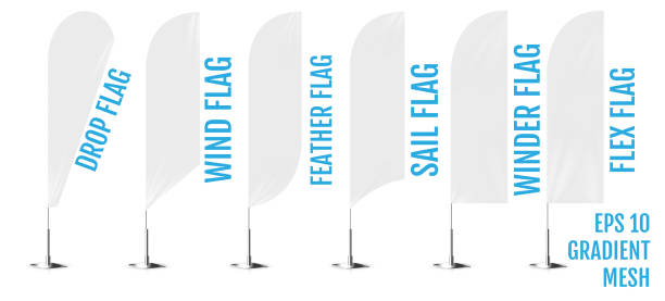 Realistic white banner flags 3d mockup. Textile waving advertisement banner flags. vector art illustration