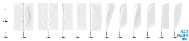 Realistic white banner flags 3d mockup. vector art illustration