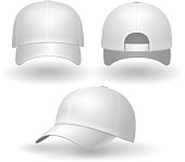Realistic white baseball cap set. Back front side view