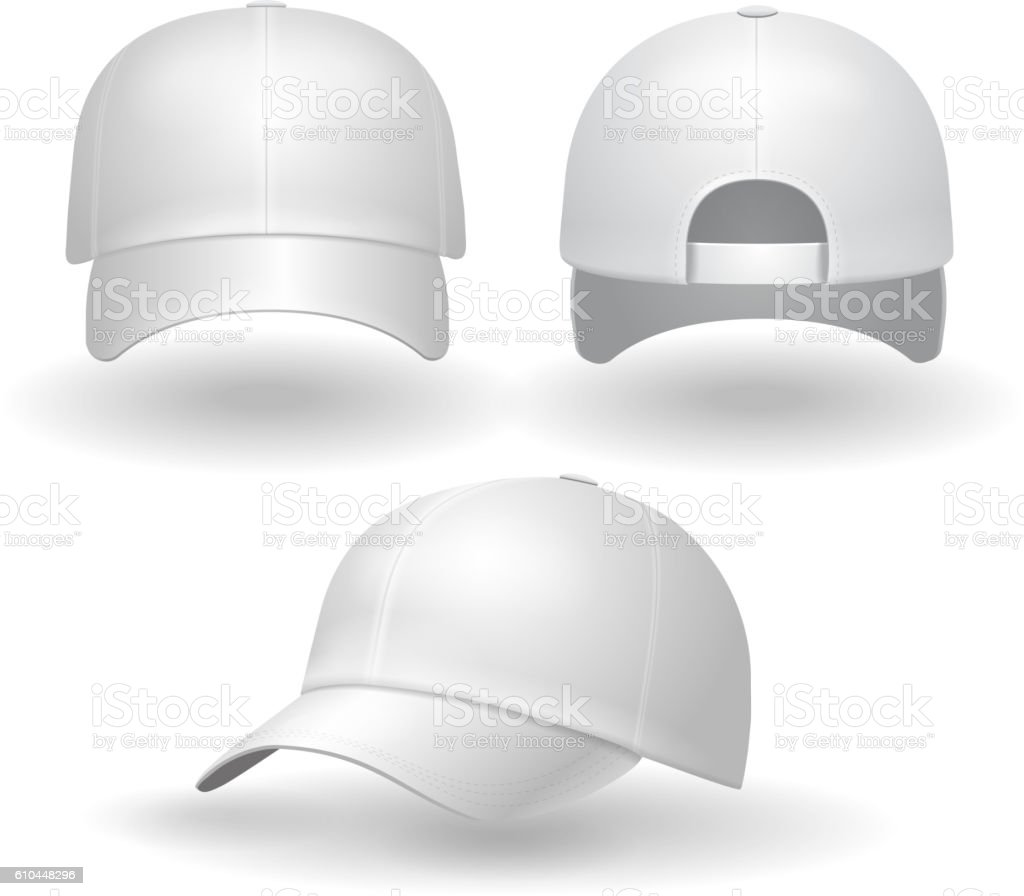 Realistic white baseball cap set. Back front side view vector art illustration