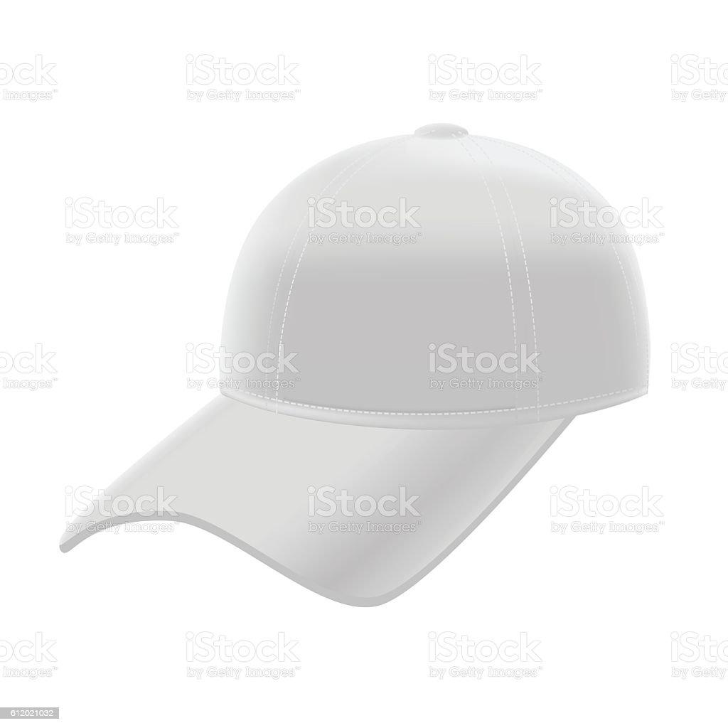 realistic white baseball cap template mockup vector アイコンの