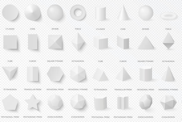 Realistic white basic 3d shapes in top and front view isolated on the alpha transperant background. Realistic white basic 3d shapes in top and front view isolated on the alpha transperant background three dimensional stock illustrations