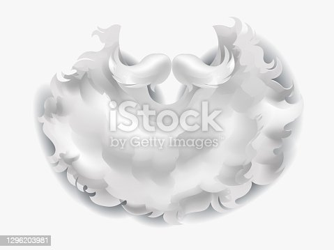istock Realistic white beard Santa for the Christmas. Traditional Christmas clothing red for costume party on white background. 3d realistic beard Santa. Vector illustration 1296203981