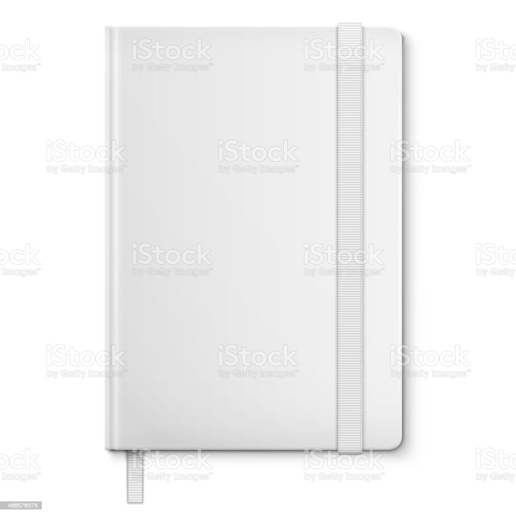 Realistic White Blank Notebook With bookmark. vector art illustration