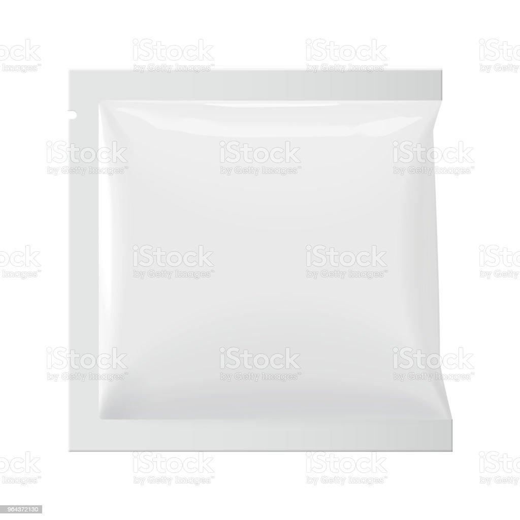 Realista modelo branco em branco embalagem folha molhada toalhetes bolsa de medicina. - Vetor de Açúcar royalty-free
