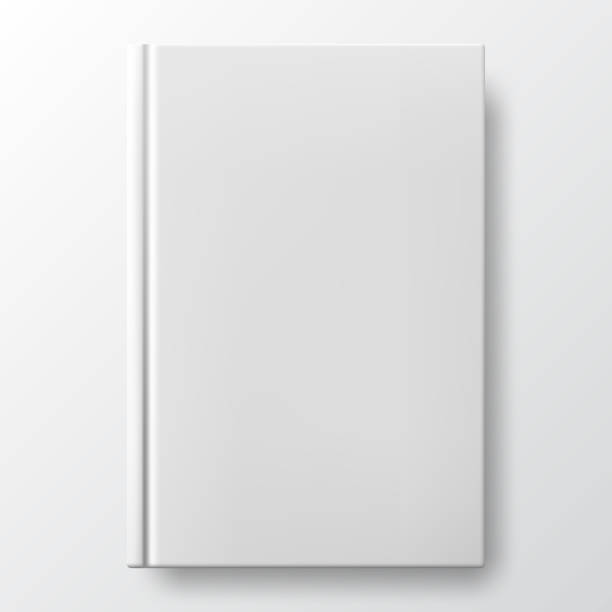 Realistic white book with a blank cover. Mock up of rotated book. Realistic white book with a blank cover. Mock up of rotated book. Vertical closed book mockup isolated on white background. White blank cover. Book blank cover isolated mockup hardcover book stock illustrations