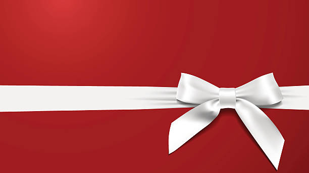 realistic White bow on a red background vector art illustration