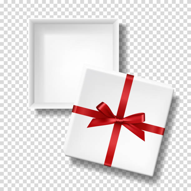 ilustrações, clipart, desenhos animados e ícones de caixa branca realística com curva e a fita vermelhas, molde em branco da caixa com a tampa separada, isolada. - aberto